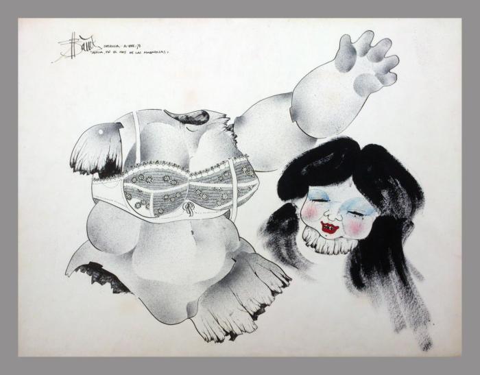 ALICIA EN EL PAIS DE LAS MARAVILLAS 1971, tinta china y mixta, papel, 65 x 50 cms.