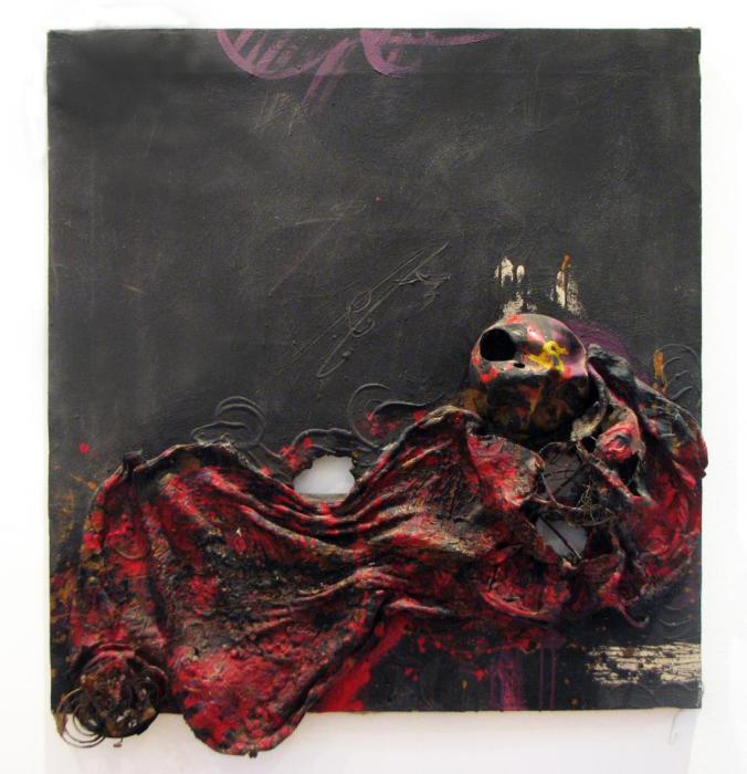 BUEY DESOLLADO (a Chaim Soutine) 1970, mixta, arpillera, 80 x 80 cms.