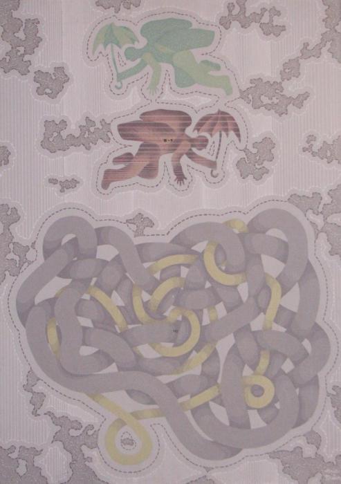 DOBLE VOLADOR Y TRIPAS 1971, acrilico, lienzo, 75 x 110 cms.