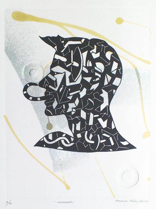 LENGUARAZ 2010, mixta y serigrafia, papel, 35 x 50 cms.
