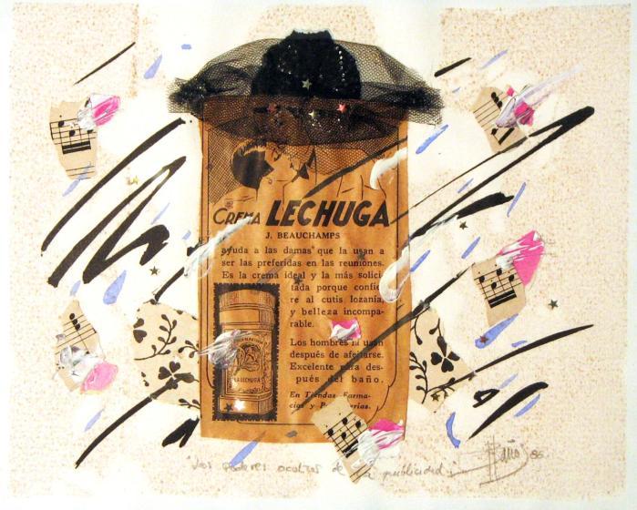 LOS PODERES OCULTOS 1986, mixta y collage, papel, 23 x 18 cms.
