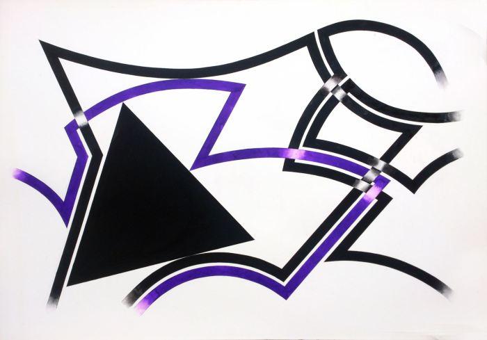 GEOMETRIA ATRAPADA I 2015, gouache y acuarela, papel,100 x 72 cms
