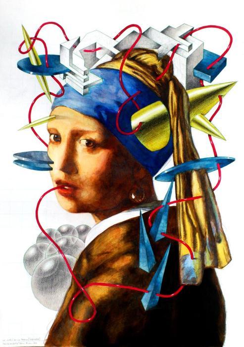 LA JOVEN DE LA PERLA 2012 acuarela y grafito, papel, 50 x 72 cms.