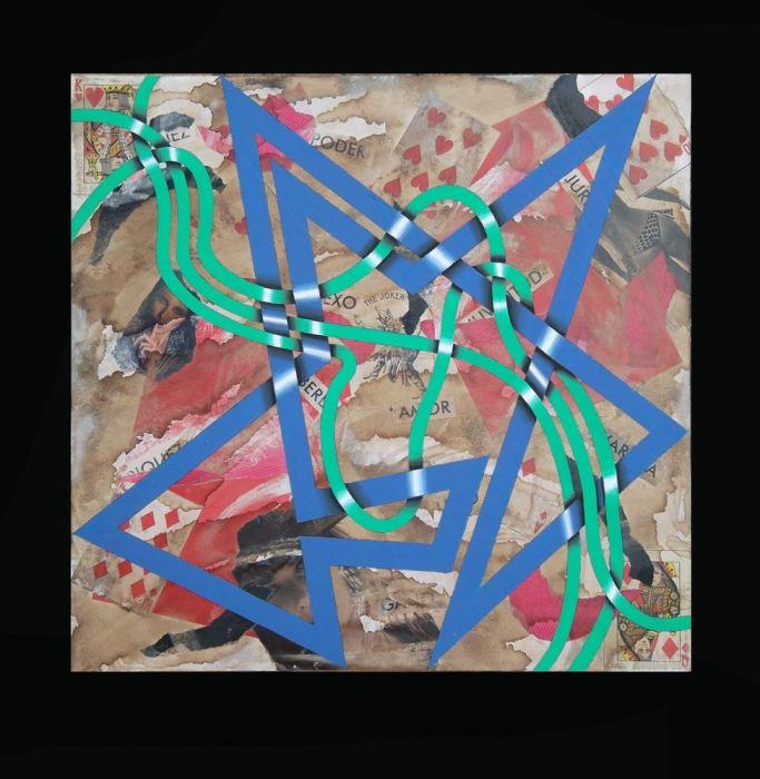 SEXO PLATONICO 2014, acrilico y collage, DM, 50 x 50 cms.