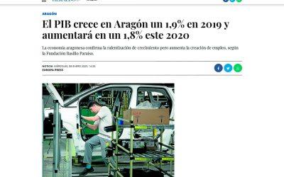 El PIB crece en Aragón un 1,9% en 2019 y aumentará en un 1,8% este 2020