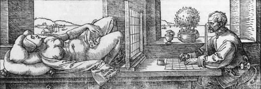 Alberto Durero: Artista y desnudo (1525).
