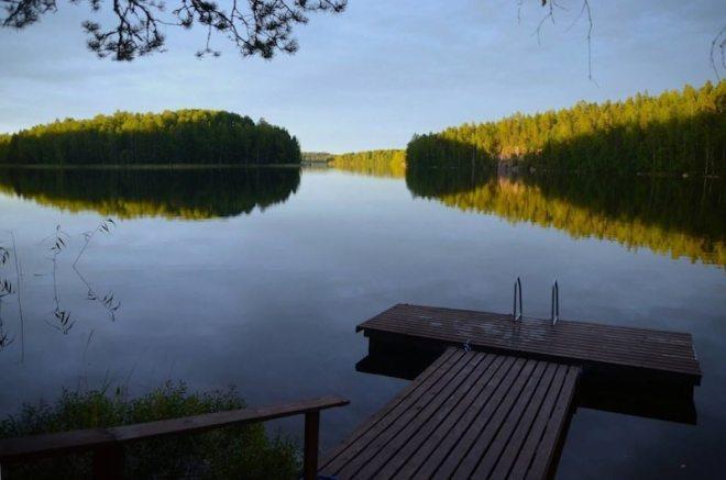 Schmacht...Sonnenuntergang am Ferienhaus in Finnland direkt am See