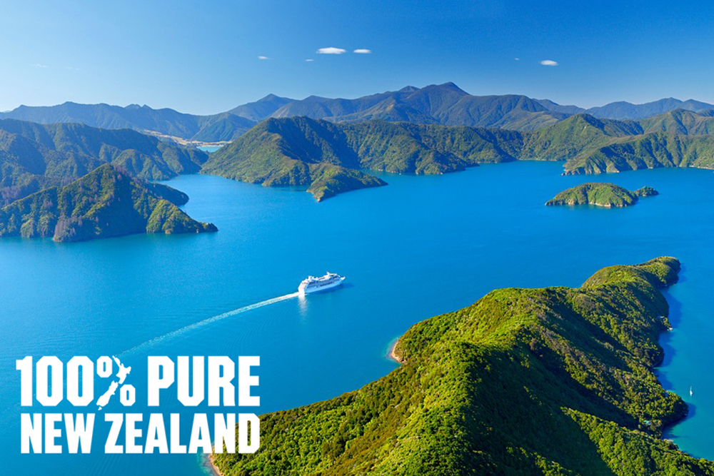 Cruise ship in Marlborough Sounds, New Zealand. Leaving Picton i