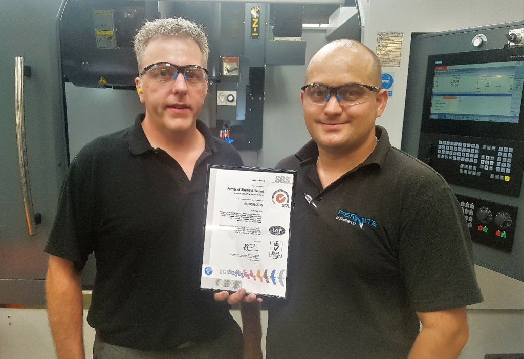 Fernite have achieved ISO9001:2015 Certification. Pictured are Managing Director James Kitching and Technical Manager Marc Horner