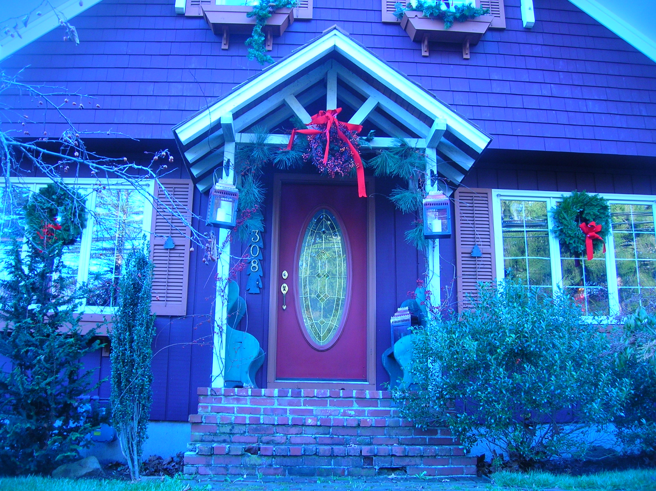 this is gandmas house this year all ready for the snow decorations for homes