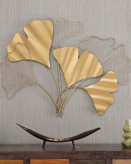 Gold Wrought Iron Bunch Ginko Leaf Wall Art Decorative Hanging