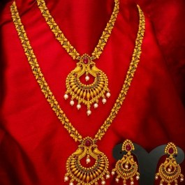 Gold Plated Temple Jewellery Set
