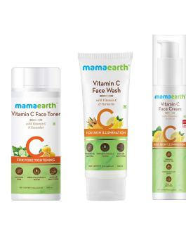 Mamaearth Vitamin C Skincare Regimen Kit(Vitamin C – Face Wash 100ml + Toner 200ml + Face Cream 50g)