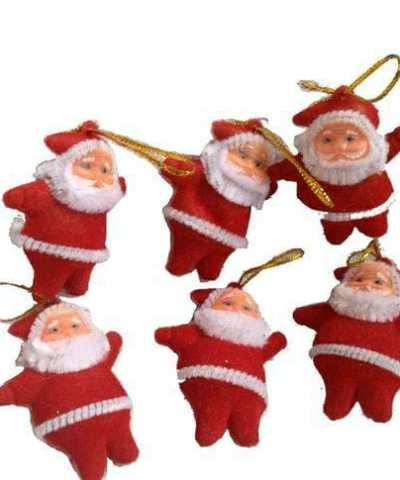 Mini Santa Claus hanging decoration party :(Pack Of 12)