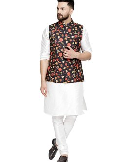 Men's white silk blended kurta and pajama with Nehru jacket