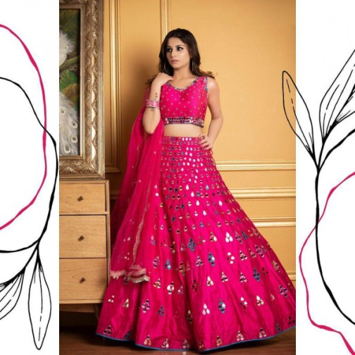 HEAVY TAFFETA SILK FULLY STITCHED WITH FULLY REAL MIRROR WORK 5 MTR FLAIR