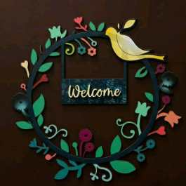 Welcome Printed Wooden Wall Hanging 11 x 11 Inches