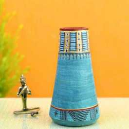 Blue Conical Vase Hand Crafted Decor