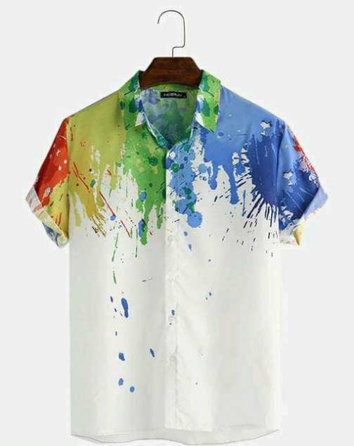 Pattern Print Breathable Shirts For Men