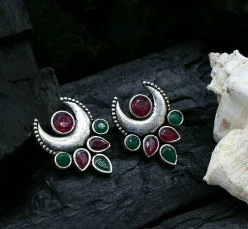 Red Green German Silver Combination Studs
