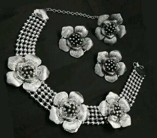 Toned Floral Choker Oxidised Silver Necklace