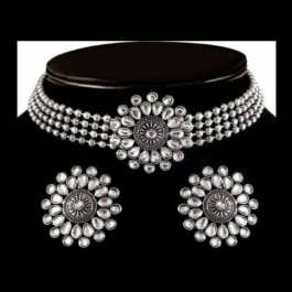 4 Layer Choker With Crystal Pearl