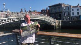 Gully News volunteer George Irving - river Liffey in Dublin, Ireland.