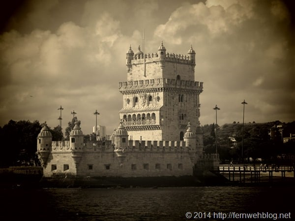 Hafenrundfahrt Lissabon Torre de Belem Sepia