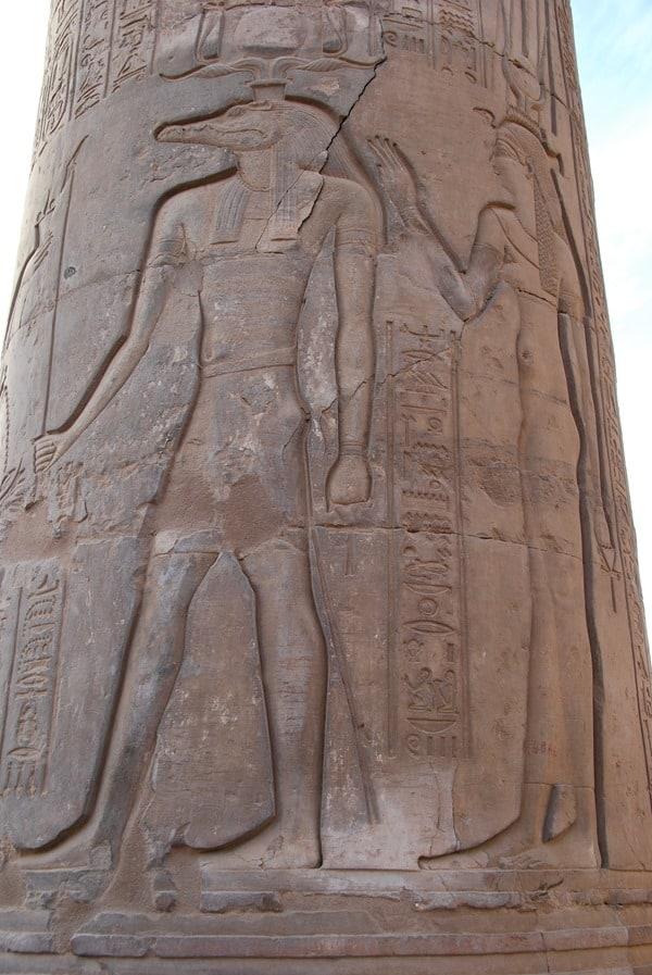 Doppeltempel von Kom Ombo Krokodilgott Sobek Relief Säule Ägypten