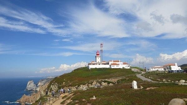 Cabo da Roca westlichster Punkt Europas Klippen Gebäude Leuchtturm Faro Portugal