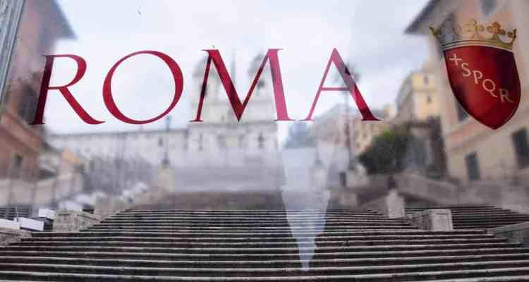 00 Spanische Treppe hinter Glas Rom Italien