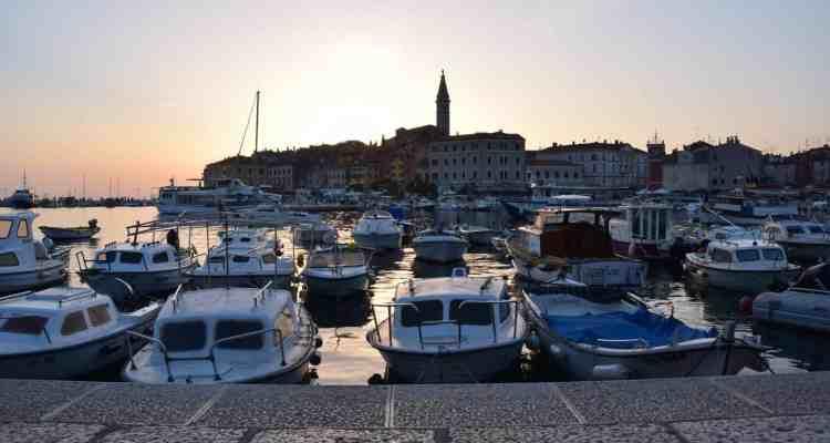 000 Sonneuntergang Hafen Altstadt Rovinj Istrien Kroatien