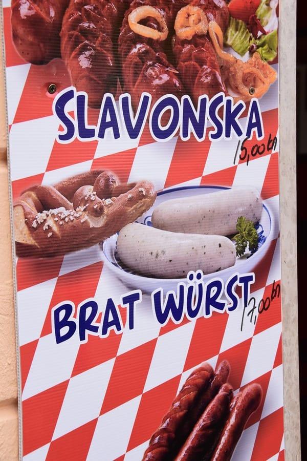 Porec Kroatien Bratwurst Weißwurst lustig Istrien