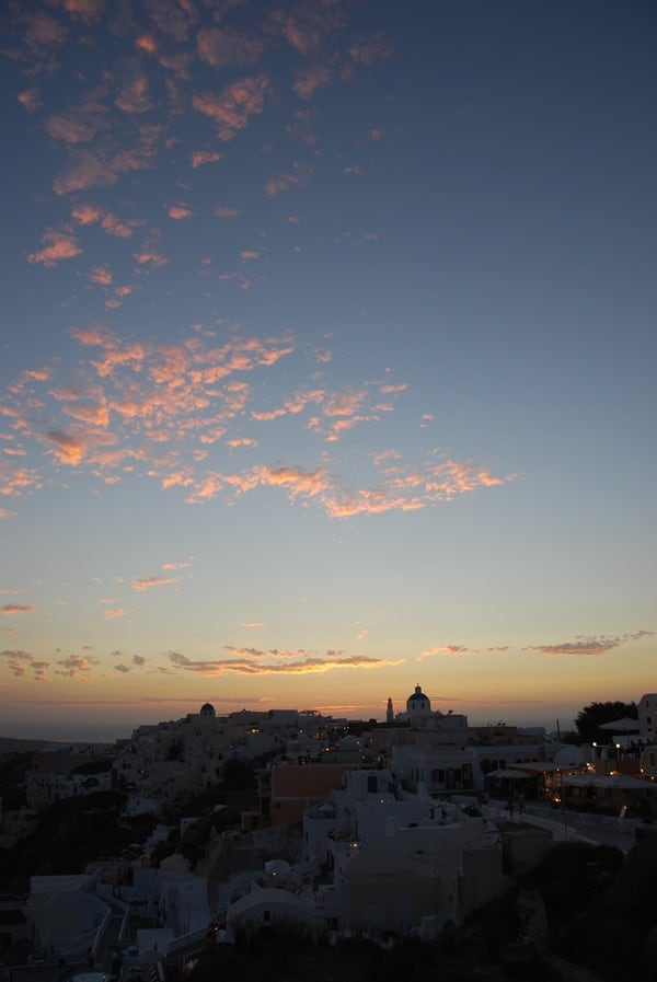 Sonnenuntergang Oia Ia Santorini Urlaub Kreuzfahrt Sehenswürdigkeiten Kykladen Griechenland