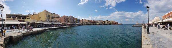 Panorama Alter Venezianischer Hafen Chania Kreta Griechenland