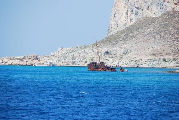 Schiffswrack vor Insel Gramvousa Kreta Chania Griechenland