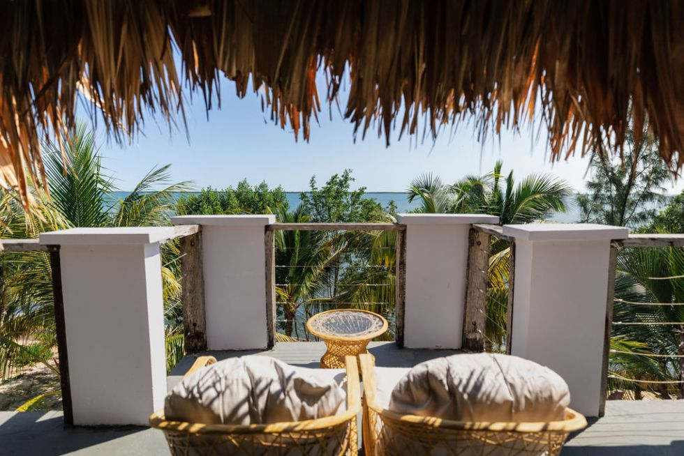 Rooftop view from Oceanfront Bungalow on Thatch Caye island in Belize during COVID