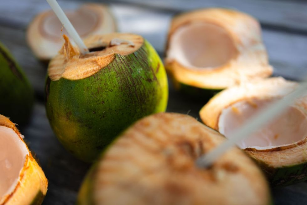 """Drinking fresh coconuts with reusable straws as part of MuyOno's """"Travel Better"""" program on Thatch Caye in Belize"""