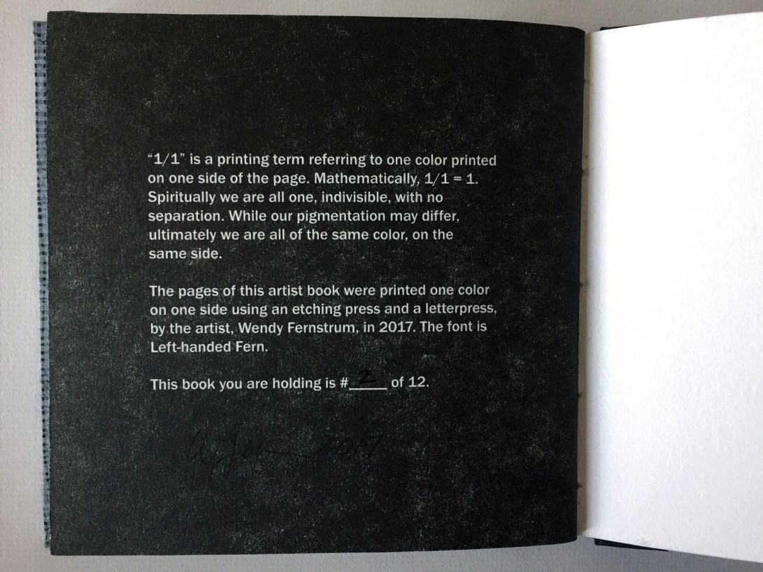 """Colophon of an artist book by Wendy Fernstrum titled """"1/1"""""""