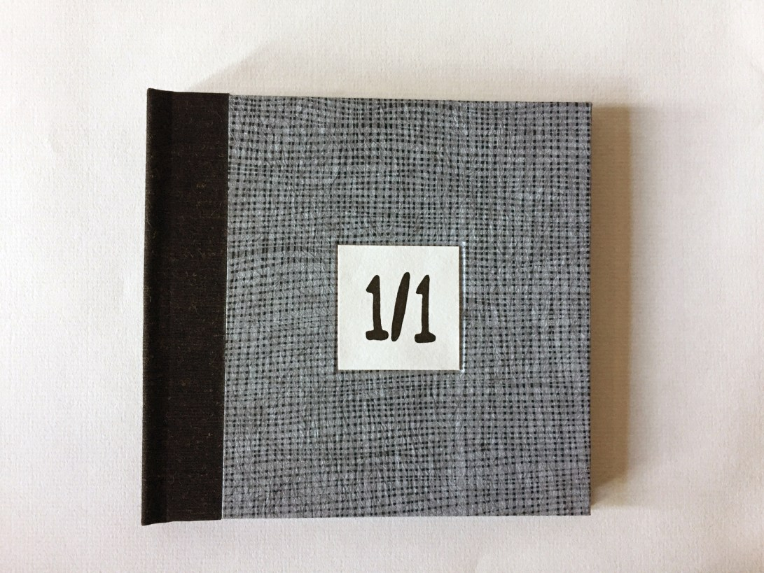 "Cover of artist book by Wendy Fernstrum titled ""1 Over 1"""
