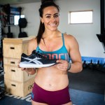 Camille Leblanc-Bazinet with the Reebok Nano 9 in black and white.