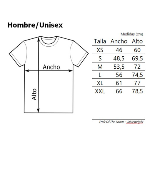Tallas-Hombre-Unisex-Fruit-of-the-loom-Valueweight