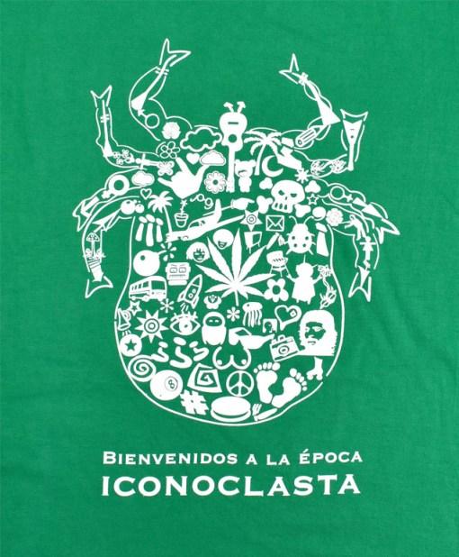 Camiseta-mujer-Los-Delinquentes-Bienvenidos-verde-detalle-blanco