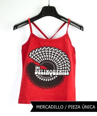 Camiseta-mujer-Los-Delinquentes-Psicodélico-Rojo