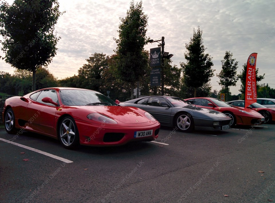 My Ferrari 360, along with others from the Owner's Club, having met for lunch