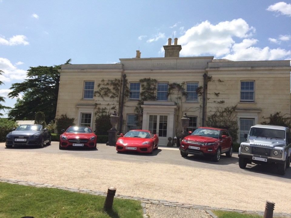 My Ferrari 360 Modena in the centre, for a photo shoot for a luxury car dealer