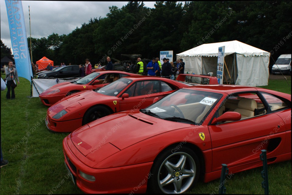 Trio of Ferrari's - a 355, an F40, and my 360 Modena, at the Bath Festival of Motoring - waiting for passengers