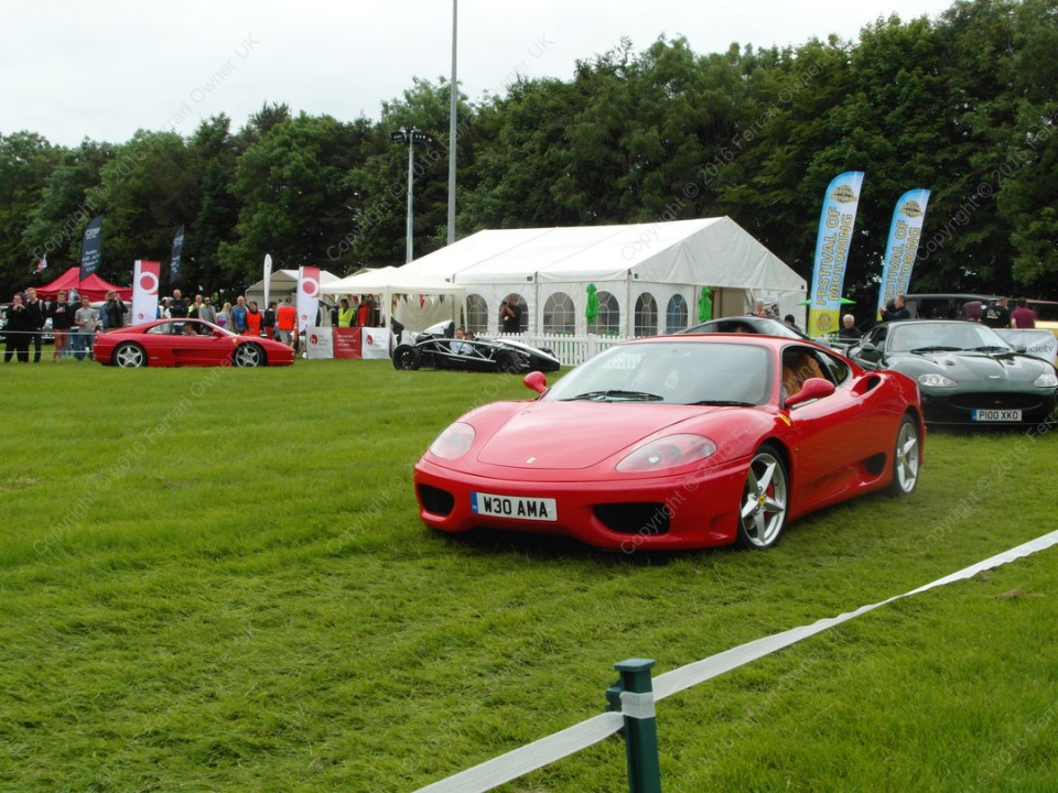 Display lap of honour in my Ferrari 360 Modena, leading other supercars at the Bath Festival of Motoring