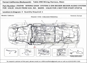 Ferrari part number 256548 WIRING DASH SYSTEM 2DIN BECKERBECKERAUDIO SYSTEM FOR VALID