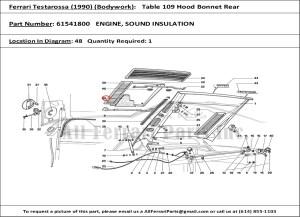 Ferrari part number 61541800 ENGINE, SOUND INSULATION